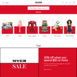 Save 20% When You Spend $50 or More on Toys, Lego, etc (Some Exclusions Apply) @ MYER