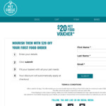 $20 off $50 Spend on Pet Food + Free Metro Shipping @ Pet Circle (New Customers)
