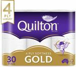 Quilton Gold 4 Ply Toilet Paper 30 Pack - $12.50 + Delivery ($0 with Prime / $39 Spend)