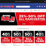 40% off Fabric, Yarn, Curtains & 50% off Home, Manchester, Kitchen, Dining, Rugs @ Spotlight