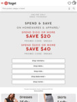 Target - Spend $100 Get $20 off, Spend $200 Get $40 off Clothing and Homewares