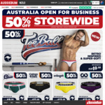 50% off Everything - Men's Underwear, Swimwear, Clothing + Delivery ($0 with $40 Spend) @ aussieBum