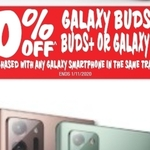 20% off Samsung Galaxy Buds Live or Watch Series When Purchased with Any Galaxy Phone @ JB HI-FI + $150 off Active2 watch ($279)