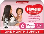 Huggies Ultra Dry Nappies, Girls, Size 6 (16kg+), 112pk, 1 Month Supply $48.53 or $41.25 (S&S) Delivered (Was $59) @ Amazon AU