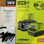 [VIC] Ryobi One+ 18v 4ah Battery & Charger $50 (Normally $99) at Bunnings Springvale