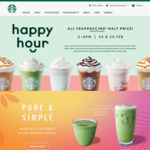 50% of All Frappuccinos 5pm-6pm on 25 & 26 February @ Starbucks