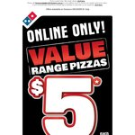 Domino's Value Range Pizzas $5 Pickup Code 32594 or $10 Delivered Code 51513