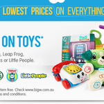 BIG W Buy 2 Toys Get a Third for FREE - Fisher-Price, Leap Frog, Thomas & Friends, Little People