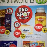 Woolworths 1/2 Price 15/7: Quilton 8pk 3 for $10, Huggies 2 for $20, Twinings $1.20, Radiant $8.74, Cadbury Favourites $6