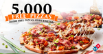 5000 Free Pizzas @ Domino's - Today 3/10 (Facebook Login Required)