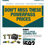 Bunnings Trade Power Pass Required: DeWalt 18V Li-ion XR 4 Piece Combo KiT $592 @ Bunnings Trade