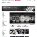 Creation Watches: 10% off on Select Watches, Take a Further 5% with Discount Coupon on eBay