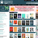25% off Everything at Robinson's Bookshop