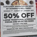 [VIC] 50% off Traditional and Premium Pizzas @ Domino's (Mill Park)
