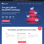 NordVPN 90% Cashback @ Cashrewards (Stack with 70% off 3 Years + Birthday Gift of up to 3 Years Free)