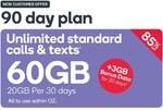 Kogan 90 Day Prepaid SIM 60GB (3x 20GB Monthly) $14.90 New Customers, No Port Required @ Kogan Mobile