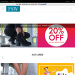 20% off with Free Shipping over $99 @ FSW Shoes