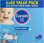 Curash Water Baby Wipes 6 x 80 pk $16.79 + Delivery ($14.27 S&S Prime or $15.11 S&S) @ Amazon AU