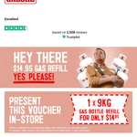 One Time $14.95 9kg Gas Bottle Refill Coupon after Newsletter Subscription @ Barbeques Galore