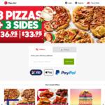 3 Large Pizzas + 3 Sides for $36.95 Delivered or $33.95 Pick up @ Pizza Hut