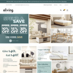 Spend $300 Save 10%, Spend $500 Save 15%, Spend $850 Save 20% @ Eliving Furniture