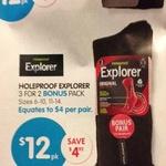 Holeproof Explorer Socks 3 pairs for $12 @ Big W