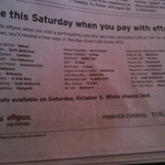 FREE The Age Good Cafe Guide in Melbourne Cafes on Saturday, Oct 5 If Paying By EFTPOS