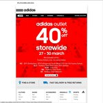 Adidas 40% off Storewide Factory Outlets Only