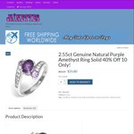 2.55ct Genuine Natural Purple Amethyst Ring Solid 40% off ($25.80 Shipped) @ Minettes