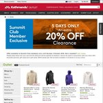 Kathmandu Further 20% off Clearance Line for Summit Club Members