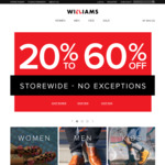 20-60% Storewide @ Williams Shoes