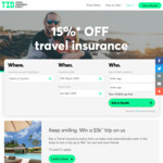 15% off Travel Insurance @ TID (Travel Insurance Direct)