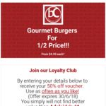 [Adelaide] 50% off Gourmet Burgers (from $4.95) (Henley Beach)
