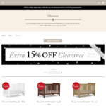 Additional 15% off Boori Clearance Store Items: Cots, Chests, Wardrobes, Bookcases, Changers