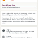 Save up to 10c/L @ Shell for Westpac Customer via Westpac App