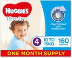 Huggies Ultra Dry Nappies 1 Month Supply (for Boys/Girls in Various Size & Counts) $44.99 + Shipping / $0 with Prime @ Amazon au