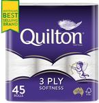 45 Pack Quilton 3ply Toilet Paper (180 Sheets Per Roll, 11x10cm) $17.50 + Delivery (Free with Prime/ $49 Spend) @ Amazon AU
