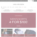 Men's Shirts - 4 for $100 & Free Delivery @ Van Heusen