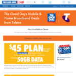 Telstra $45 Per Month (12 Months Plan) 50GB Data Unlimited Talk/Text Plus $200 Gift Card @ The Good Guys