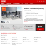 Matino 7 Piece Outdoor Setting $199 (Save $200) @ Barbeques Galore