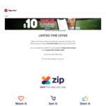 $10 Zip Credit Back with Any Purchase @ Pizza Hut