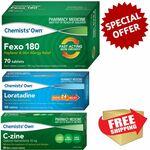 Allergy Relief Combo - Chemists' Own 70x Fexo180 + 50x Loratadine + 30x Cetirizine $32.99 Delivered @ PharmacySavings