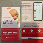 50% off ($20 Minimum Spend, Maximum $20 Discount) & Free Delivery on First Order (New Customers Only) @ DoorDash