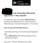 Free 2000 Everyday Rewards Points ($10 Store Credit) for Installing & Activating Everyday Rewards App