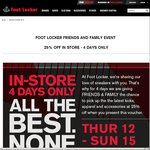 25% off Foot Locker Family and Friends (Voucher) Thursday to Sunday