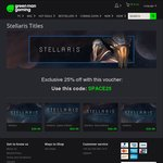 Stellaris $29.99 USD after 25% off Discount Code (~ $40 AUD) from GreenManGaming