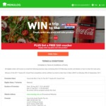 $10 Voucher with Purchase of Pizza + Coke at Menulog