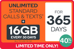 Up to 40% off Unlimited Prepaid 365-Day SIM Plans @ Kogan Mobile (23GB $315.10, 16GB $254.30, 6GB $205.60, 2GB $152.10)