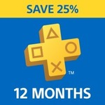 PlayStation Plus: 12 Month Membership $59.95 (25% off) PS Store (Online)