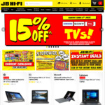 15% off Samsung, Sony and TCL TV's @ JB Hi-Fi